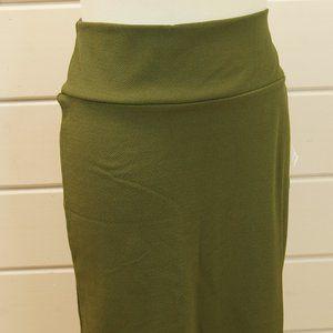 NWT Lularoe Cassie Olive Green Textured Skirt XL